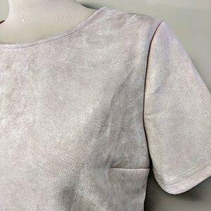 Dresses - Pink Suede Scallop Hem Dress